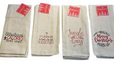 Kitchen Dish Towels Set of 4 Khaki Christmas Cheer Assorted Sayings Tea 15x25