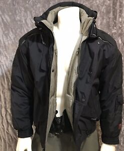 Ski Snow FILA Bomber Jacket Parka Black/Gray Fleece Lined S Excellent Waterproof