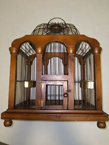 Antique Wood and Metal Dome Bird Cage