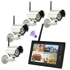 "Wireless 2.4G 4CH Quad DVR 4 Camera with 7""TFT LCD Monitor Home Security System"