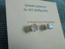 RAINBOW MOONSTONE Stud EARRINGS 5mm Round Faceted Gemstones Wicca Reiki .925