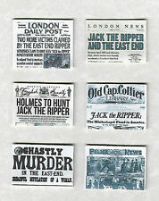 SIX HAND-MADE DOLLS' HOUSE 1/12TH SCALE VICTORIAN JACK THE RIPPER NEWSPAPERS
