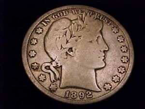 1892-S  Barber Half Dollar, Very Good Grade.