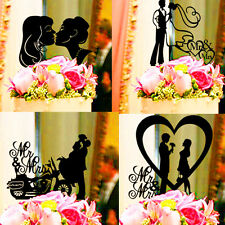 PERSONALIZED CUSTOM WEDDING CAKE TOPPER BLACK SILHOUETTE CUT IN BLACK ACRYLIC