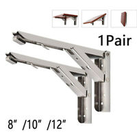 2× Triangular Folding Bracket Stainless Steel Release Catch Support Bench Table