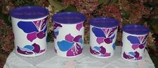 TUPPERWARE ONE TOUCH CANISTER SPRING BLOSSOMS SET OF 4 PURPLE FLOWERS