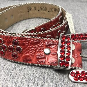 BB Simon Red Swarovski Crocodile Leather Belt  - Men's Size 32 New with Defects