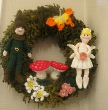 AMAZING HAND KNITTED WOODLANDS MAGICAL WREATH. WALL DISPLAY. LASTS YEARS.