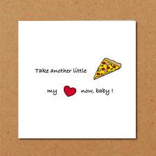 LYRIC valentines birthday anniversary card funny humorous pizza joke
