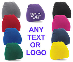 Custom personalised Embroidered Any Text or Logo Pull On Knitted Beanie Free P&P