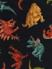 33 inches Dinosaurs on Black Cotton fabric from Timeless Treasures 9424