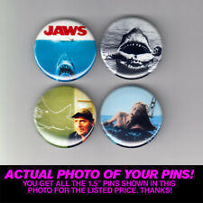 """JAWS - 1.5"""" PINS / BUTTONS (vintage movie poster print badge shark horror quint)"""
