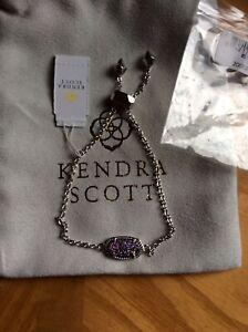 NWT Kendra Scott Elaina Multi -color Drusy Bracelet Rhodium