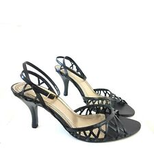 Faith Strappy Sandals Leather Black Heels Ankle Strap Peep Toe Shoes Size 6