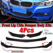 4x Universal Front Bumper Lip Body Kit Spoiler Splitter Matte For BMW Benz Audi
