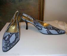 Designer G.GIGLI Leather SHOES Slingbacks Pumps Patent Heels Snake Skin 37 7 EXC