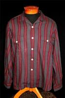 RARE VINTAGE 1950'S SAKS FIFTH AVENUE STRIPED COTTON & WOOL SHIRT SIZE LARGE