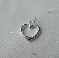 SMALL OPEN HEART CHARM 925 STERLING SILVER LOVE VALENTINE MARRIAGE