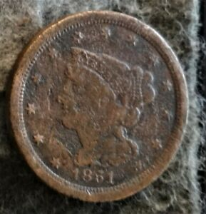 US 1852 BRAIDED HAIR HALF CENT - Early Copper Half Penny (1840-1857)