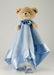 Playgro Large square security baby blanket blue with Teddy. satin edges lovie