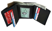 BLACK MENS GENUINE LEATHER MENS TRIFOLD WALLET ID 11 CARD CENTER FLAP HOLDER
