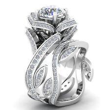 Women 925 Silver 1.3CT Topaz Gemstone Size 6 Wedding Ring Engagement