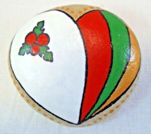 Hand painted rocks, stones, pebbles. Christmas themed Love heart painted pebble.
