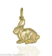 375 9 kt Gold Bunny Rabbit Charm Ciondolo.