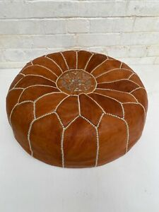 Genuine Leather MORROCAN POUFFE FOOTSTOOL Great Condition 20 x 8 inches