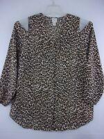 Chico's Womens sz 1 Leopard Print Open Shoulder Hidden Button Front Blouse Top