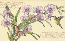 Cross Stitch Kit Dimensions Orchids & Hummingbird Floral Butterfly #35237