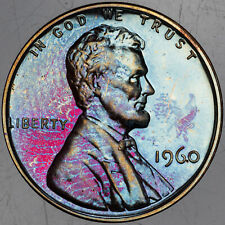 1960-P LINCOLN MEMORIAL CENT BU UNC MONSTER NEON COLORING CHOICE TONED (MR)