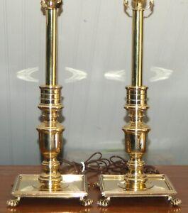 Brass Candlestick LAMPS Maitland Smith Williamsburg Georgian PAIR Square 9-L