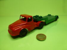 LONE STAR TRUCK + TRAILER LOW BED - RED + GREEN - GOOD CONDITION