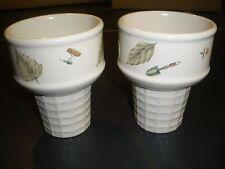 """Set of 2 Pfaltzgraff Portfolio Naturewood Ice Cream Cone Dishes 4.5"""" H x 3.5"""" D"""