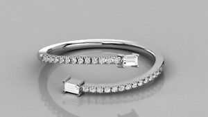 Real 10K White Gold Engagement Women's Band With Baguette & Round Cut Moissanite