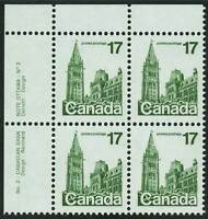 Canada sc#790 Houses of Parliament, UL CBN Plate Block N°2, Mint-NH