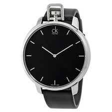 Calvin Klein Exceptional Black Dial Black Leather Mens Watch K3Z211C1