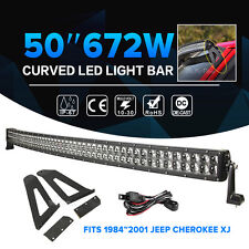 50inch 672W Curved LED Light Bar Wiring Kit& Mount Bracket For Jeep XJ Cherokee