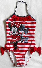 DISNEY STORE SIZE 4 (XS) GIRLS MINNIE MOUSE 1 PIECE SWIMSUIT RED/WHITE/BLUE NWT