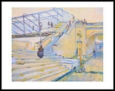 Vincent van Gogh Eisenbahnbrücke Poster Kunstdruck Bild mit Alu Rahmen 56x71cm