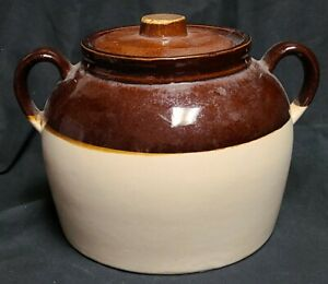 Vintage Stoneware Bean Pot With Lid Marked USA