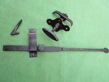 Clenche poignée navette rosace ouvragée mentonnet fer ancien barre 30,6 cm porte