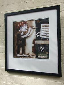 "LUDMILA KOROL'' BOY PLAYING MUSIC"" SIGNED GICLEE PRINT  #12/150 FRAMED ART"