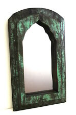Antique Timber Wooden Indian Mirror Distressed Paint Finish Vintage Small Mirror