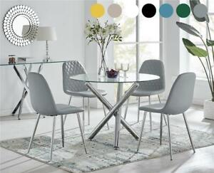 Selina Round Glass Chrome Leg Modern Dining Table Set and 4 Chairs