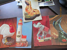 5 EZRA BROOKS Elephant Turkey Lighthouse Fish & Collection  Vintage Post Card