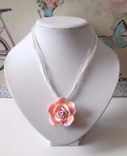 White Light Pink Yellow Polymer Clay Rose Flower Pendant Organza Cords Necklace