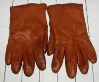 Womens Brown Leather Gloves Driving Cashmere Lined Soft Supple Broken In Comfy