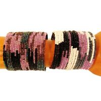2 WIDE Purple Color Block Boho Tribal Handmade Beaded Cuff Bracelets